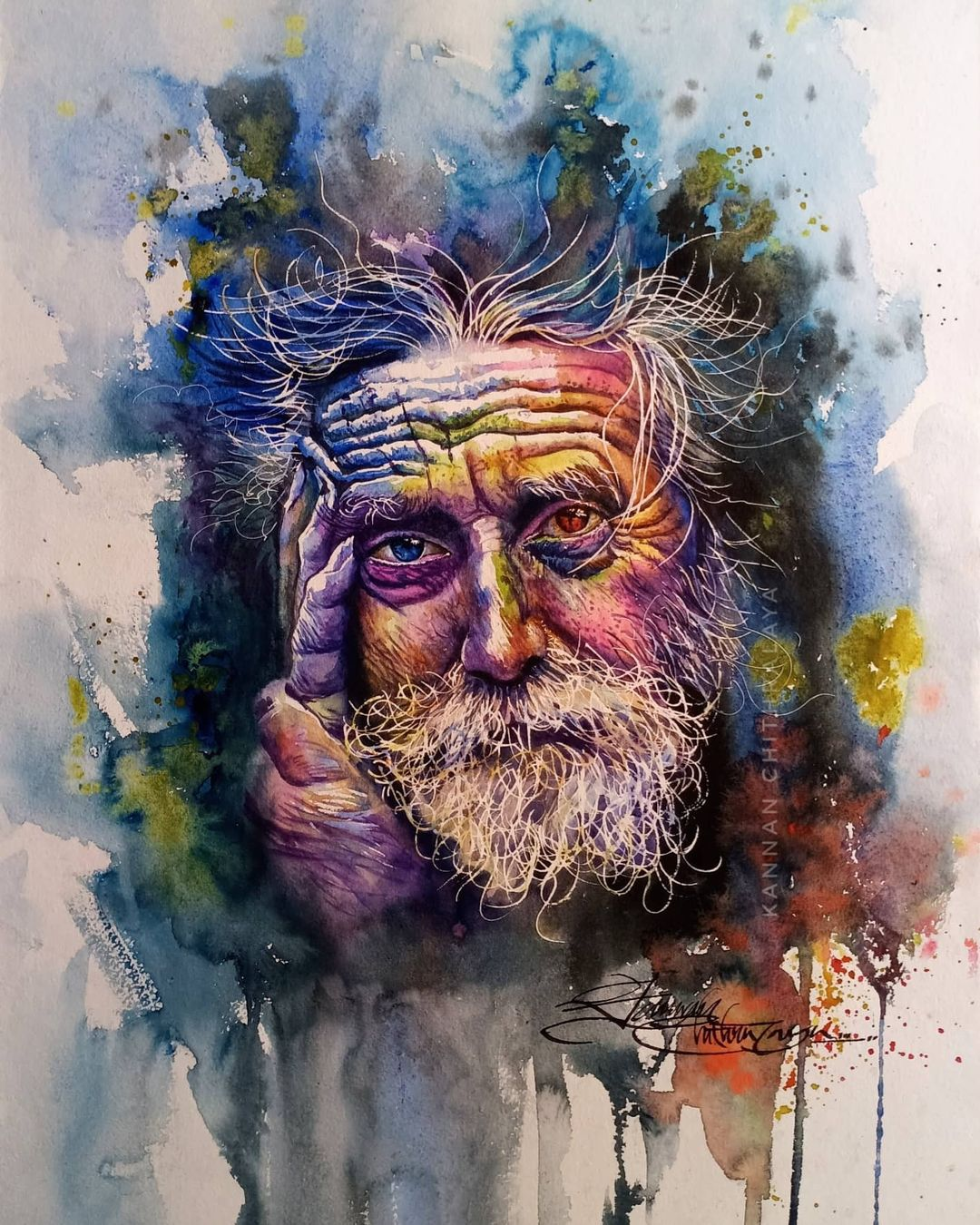 watercolor painting fiery man by kannan chitralaya