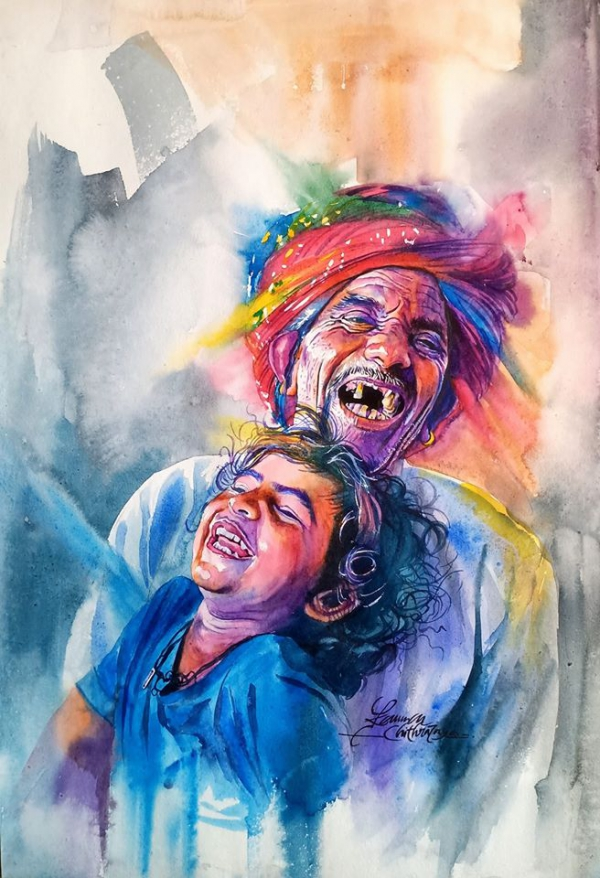 watercolor painting joyful life by kannan chitralaya