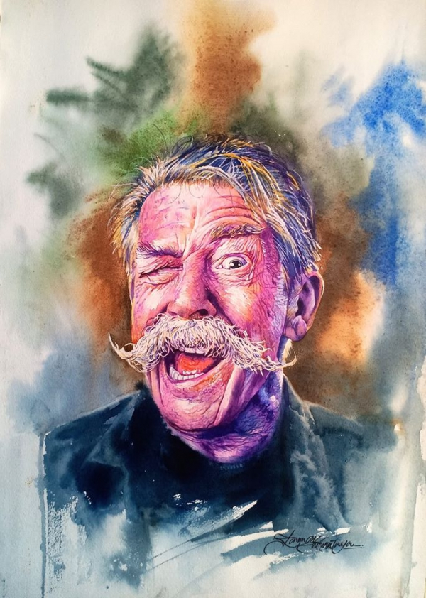 watercolor painting laughing man