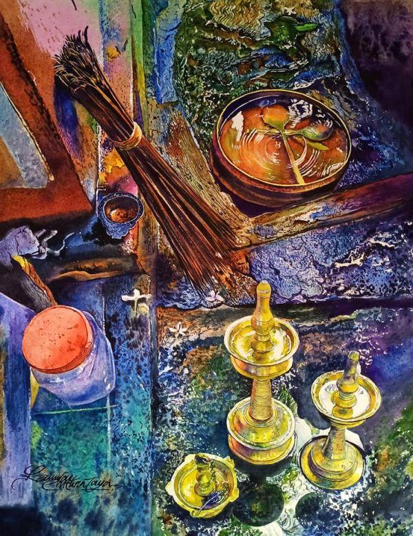 watercolor painting lamps broom by kannan chitralaya