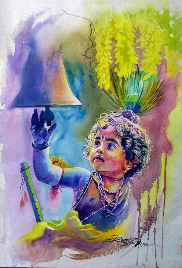 watercolor painting little krishna by kannan chitralaya