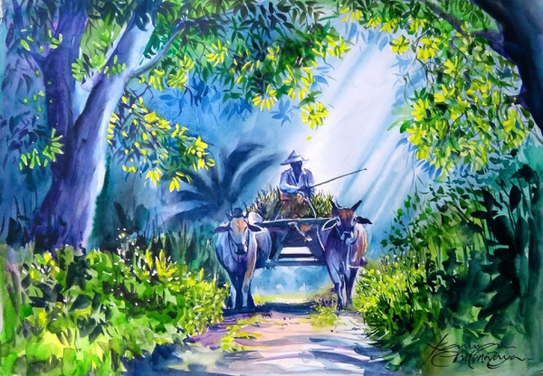 watercolor painting ride bullock