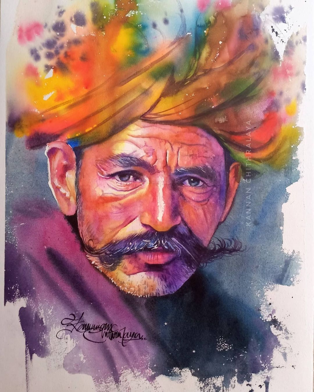 watercolor painting old man turban by kannan chitralaya