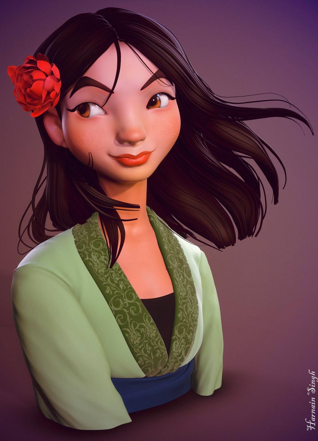 3d model mullan chinese girl by harnain singh