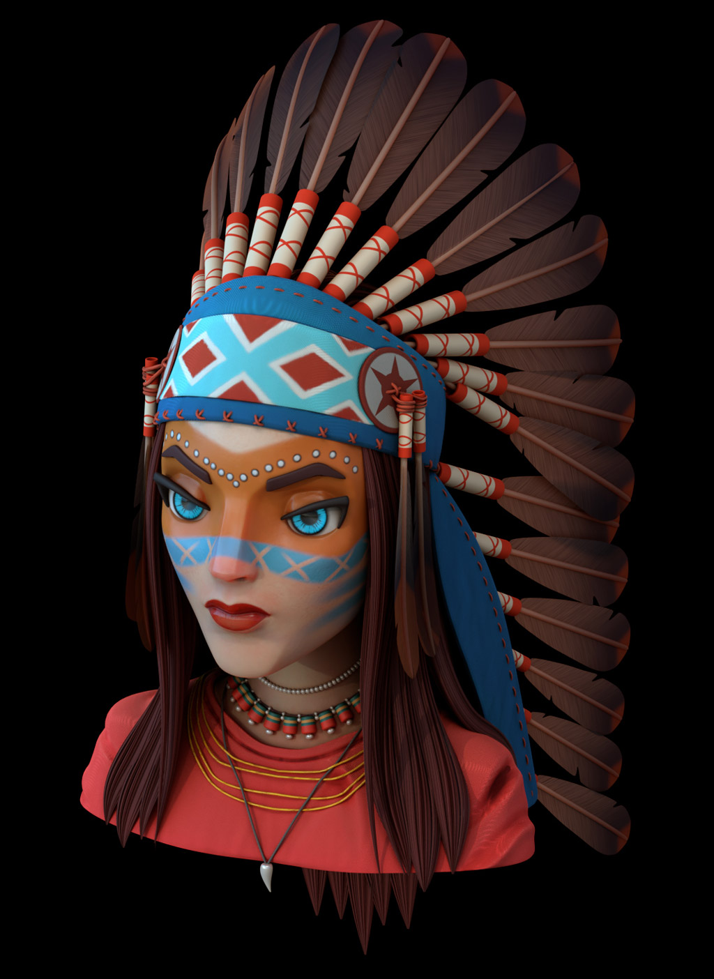 3d model red indian woman by aravindeep