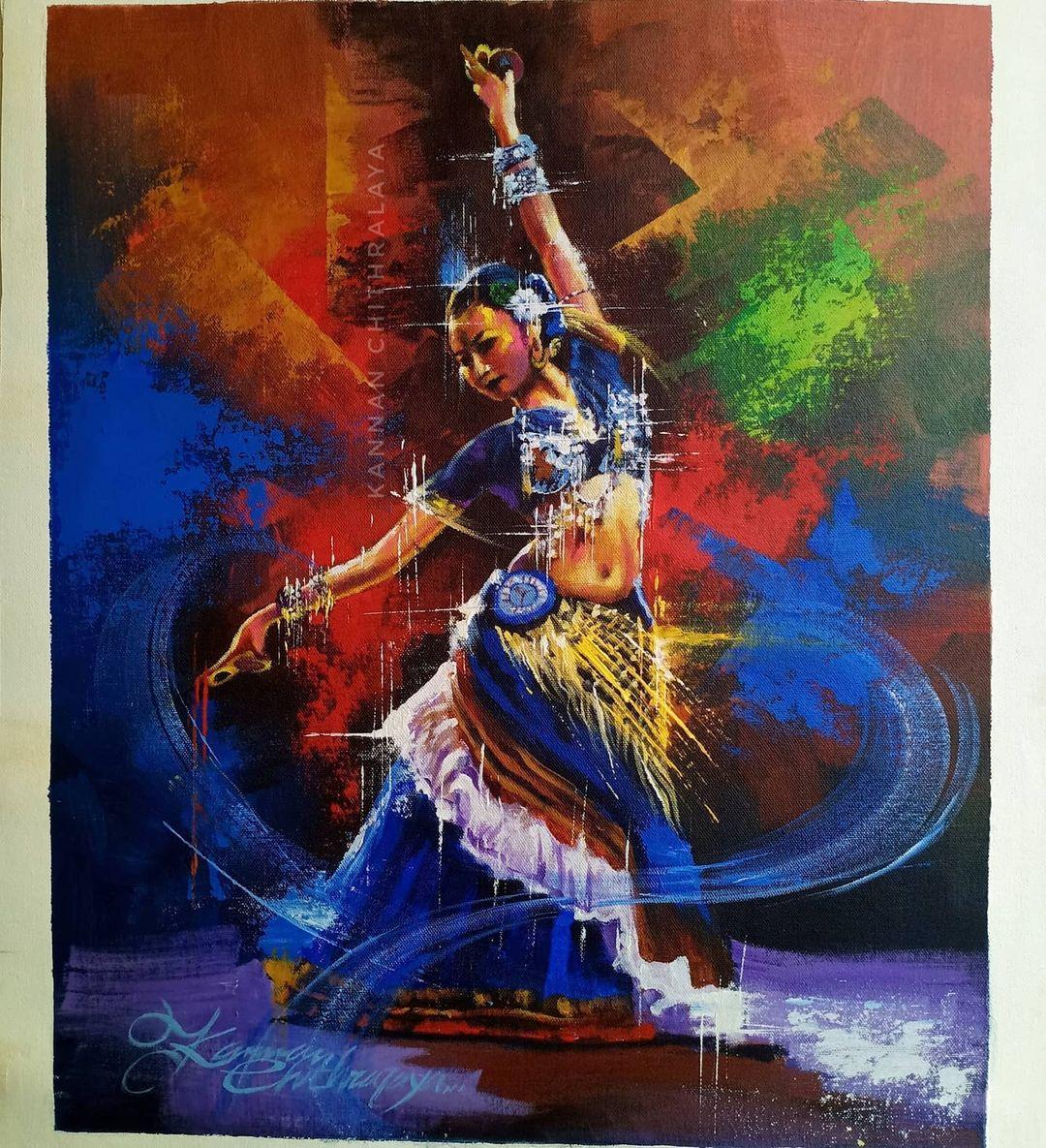 watercolor painting dancer by kannan chitralaya