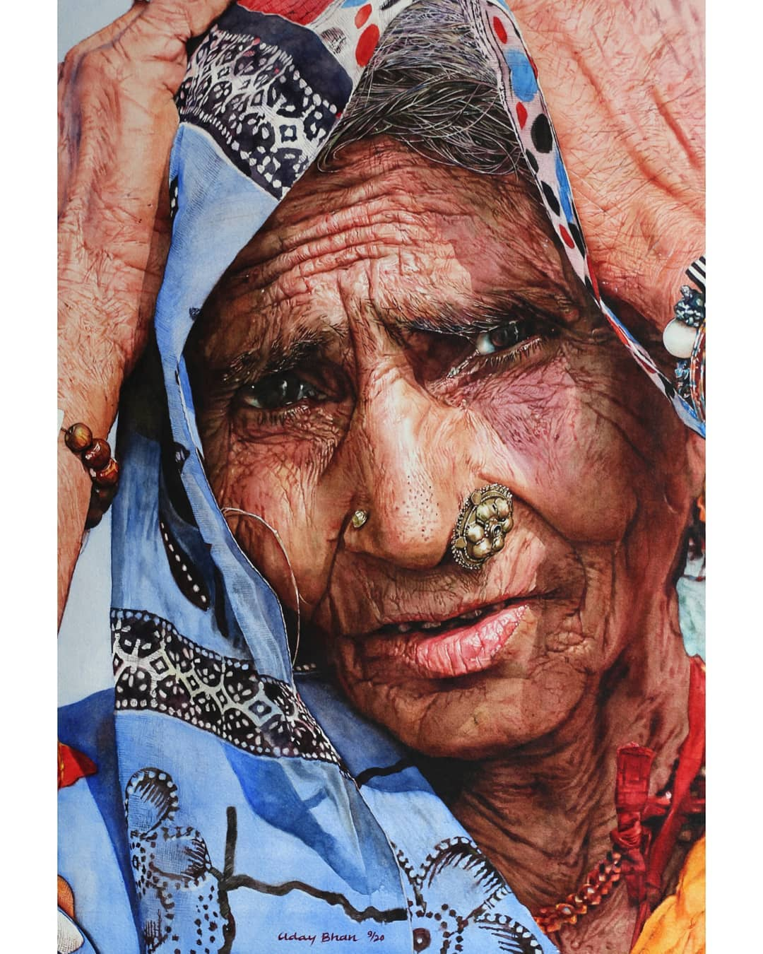 portrait watercolor painting rural woman by uday bhan