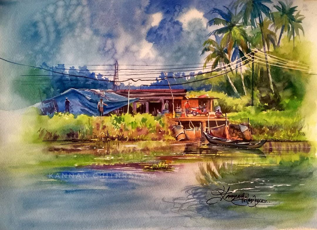 watercolor painting village by kannan chitralaya
