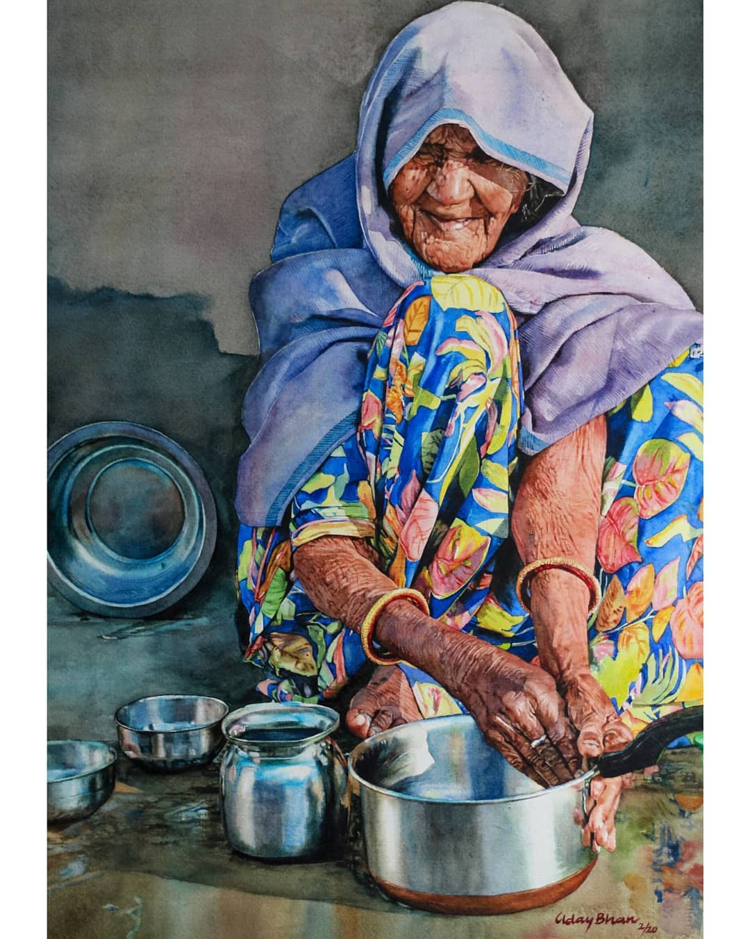 watercolor painting washing dishes woman by uday bhan