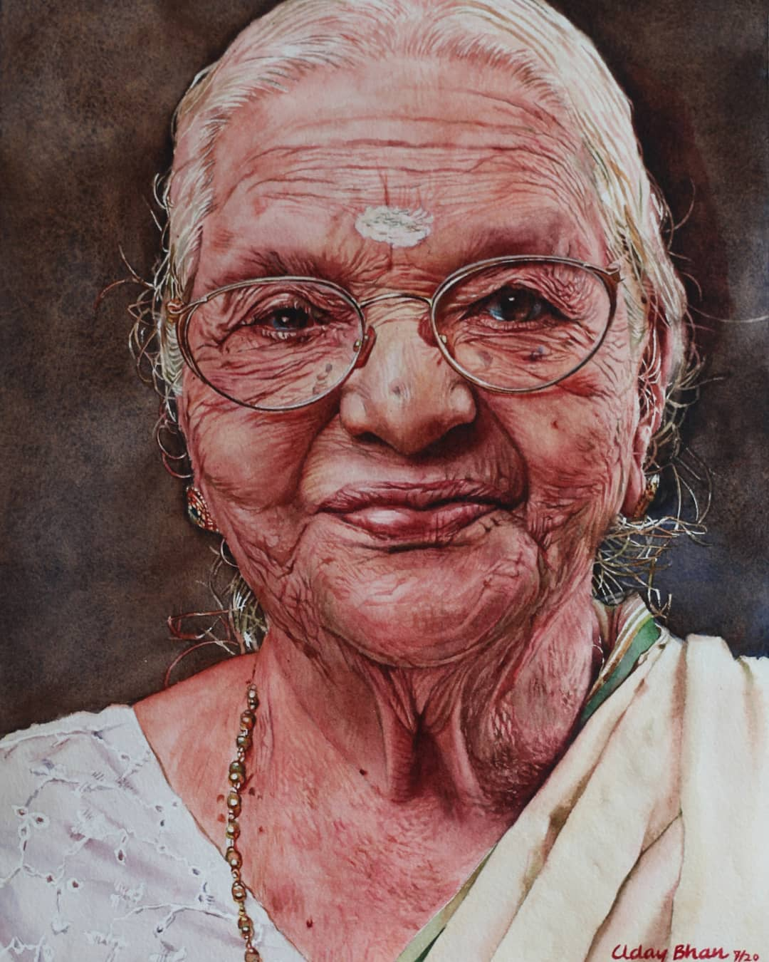 portrait watercolor painting white saree woman by uday bhan