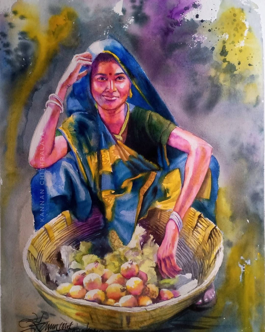 watercolor painting fruit seller by kannan chitralaya