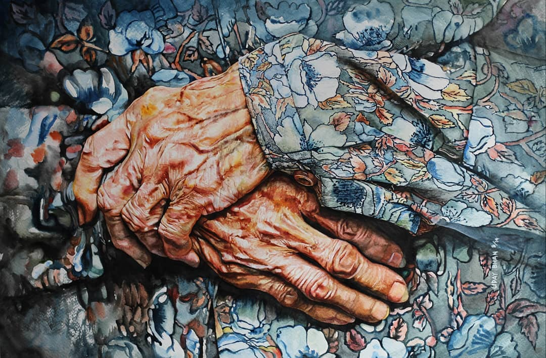 portrait watercolor painting folded hands by uday bhan