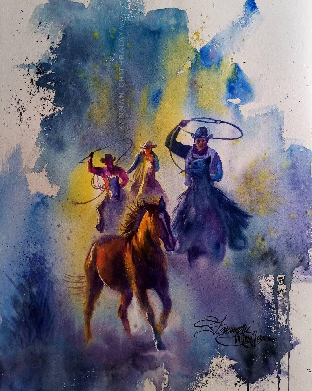 watercolor painting cowboy by kannan chitralaya