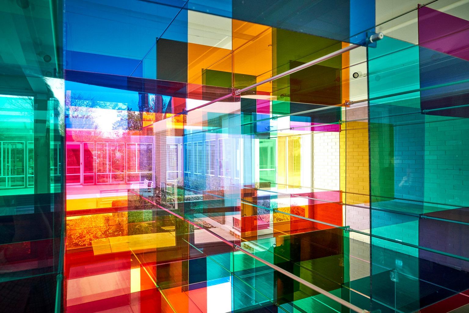 art installation tinted geometric panel by art duoluftwerk