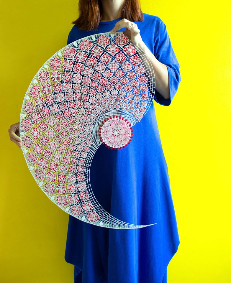 art laser cut paper compositions with color painted by julia lbbini