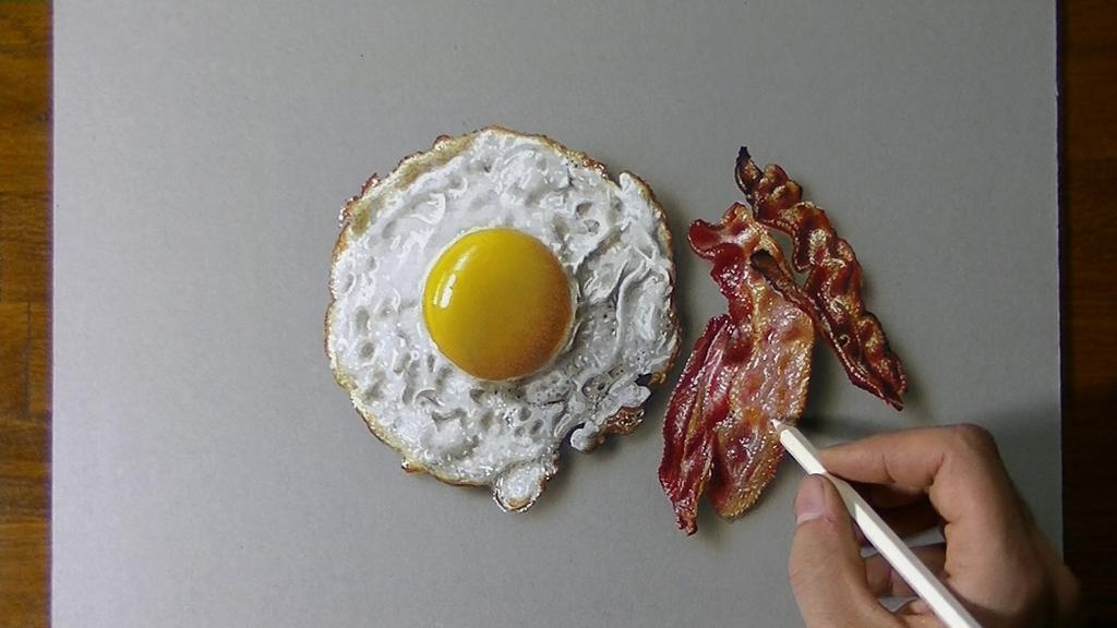 color pencil drawing egg bacon by marcello barenghi