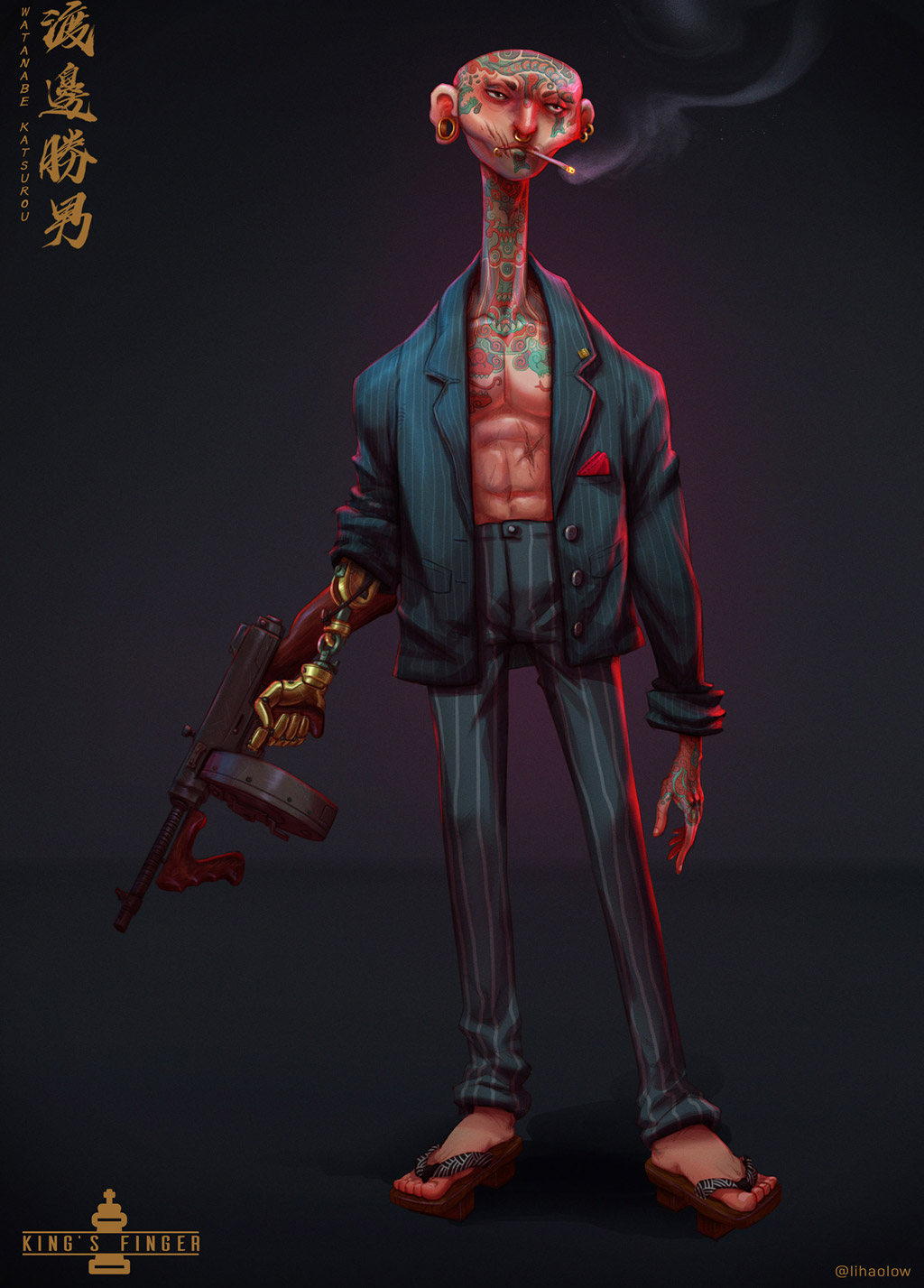 digital illustration character art mafia gangster by lihaolow