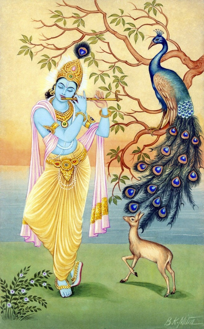 painting krishna by bkmitra