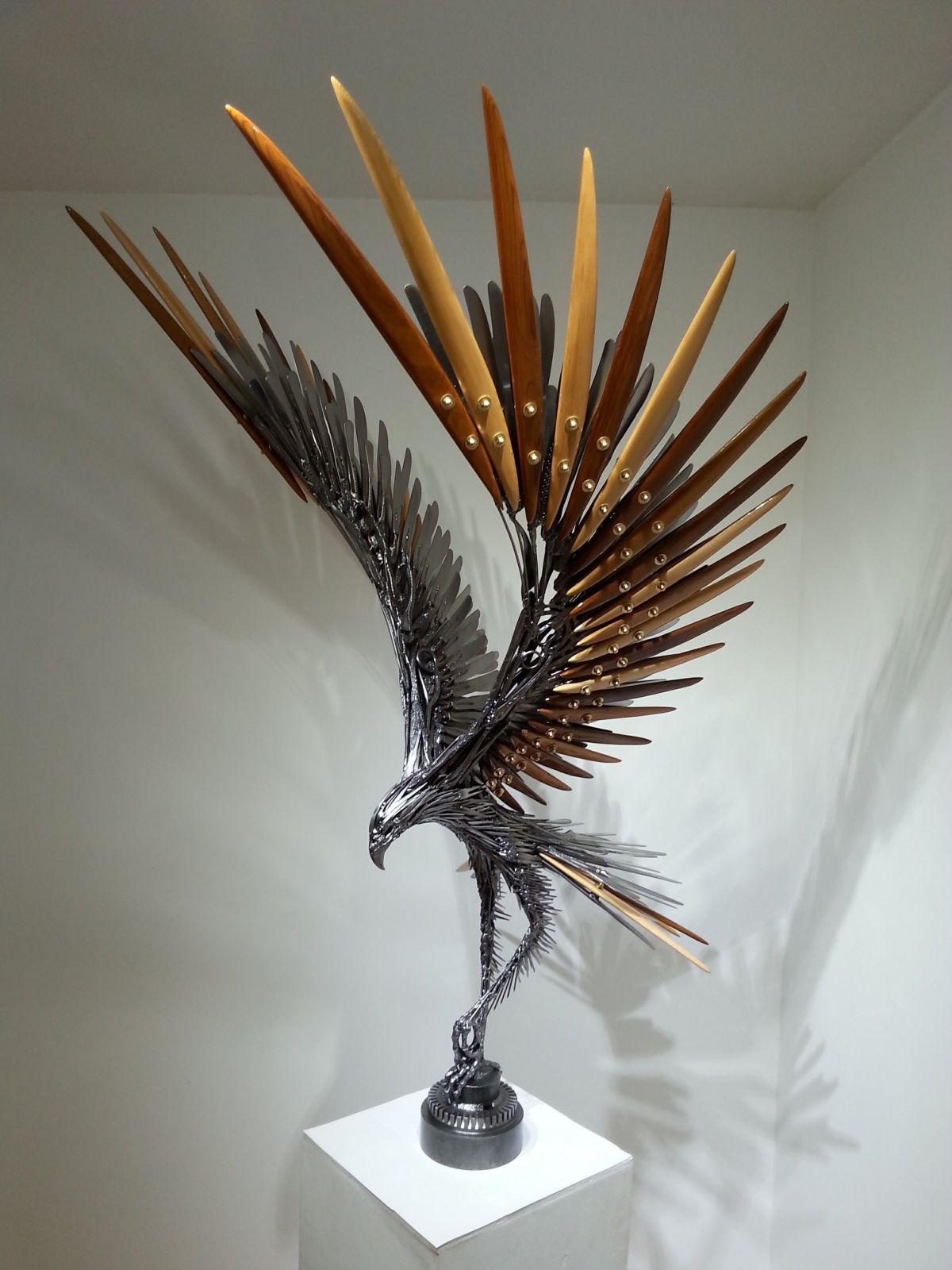 sculpture steel bird by carl sean mcmahon