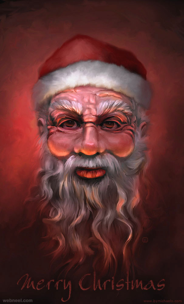 santa digital painting