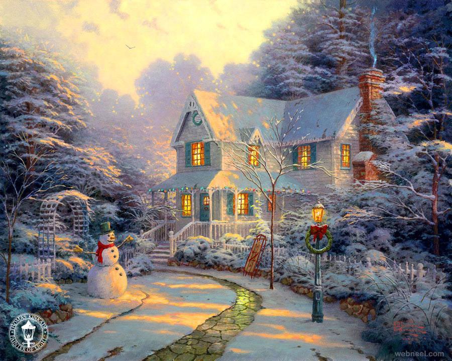 christmas paintings by thomas kinkade