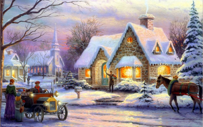 christmas paintings by thomas kinkade
