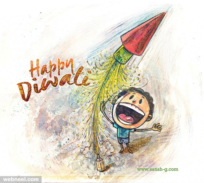 diwali greeting cards illustration by satishgangaiah