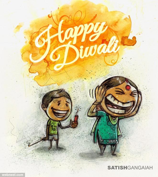 diwali greeting cards illustration by satishgangaiah