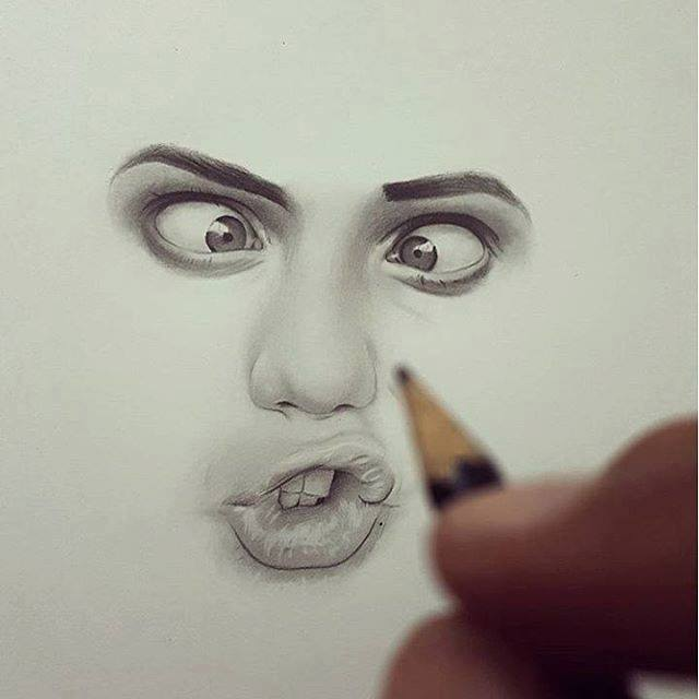 realistic face drawing by hisham art