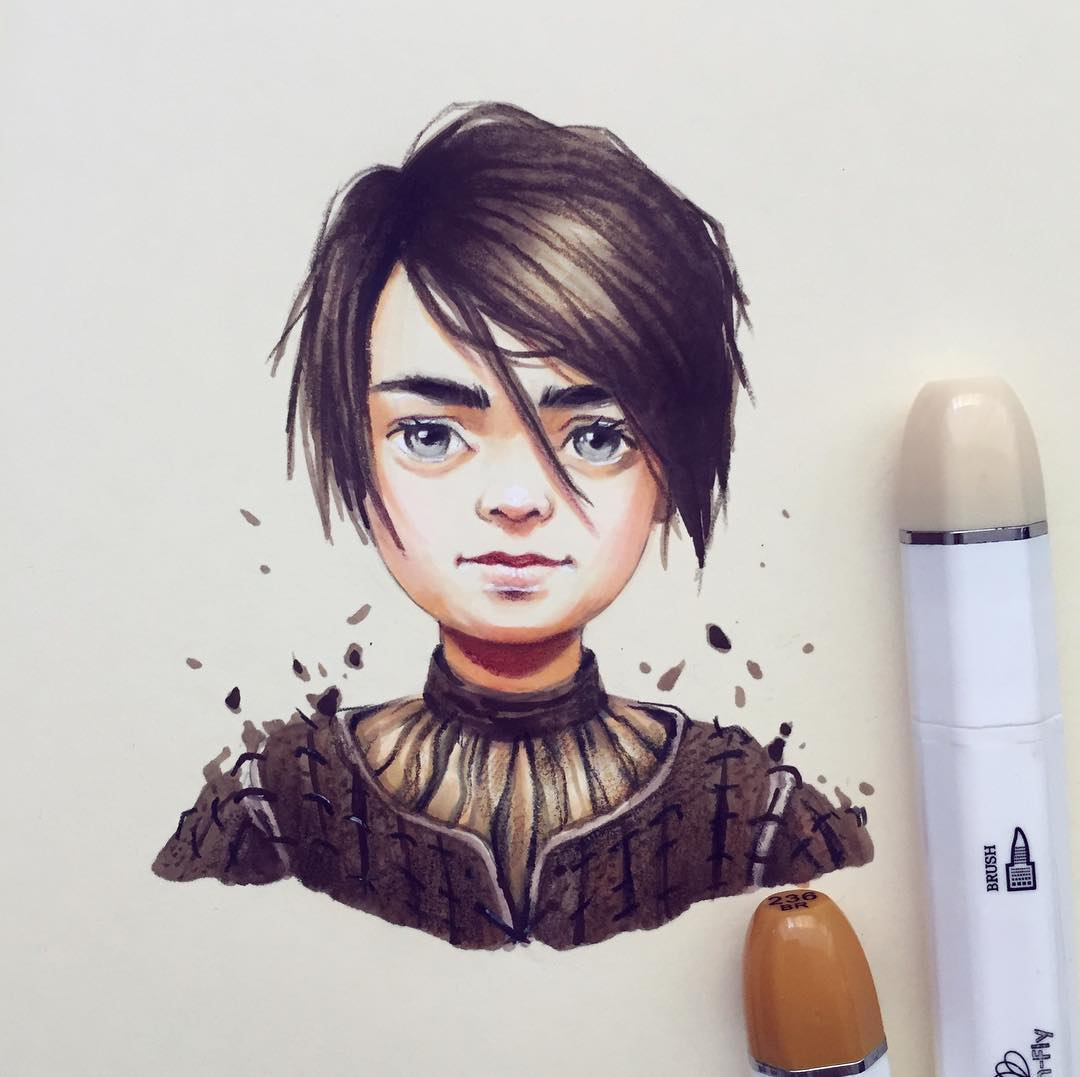arya stark color pencil drawing
