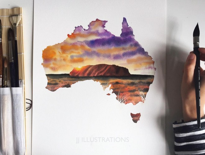 australia watercolor painting by jessica janik