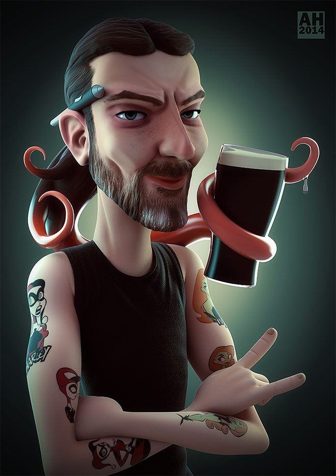 3d cartoon caricature tattoos vray zbrush by andrew
