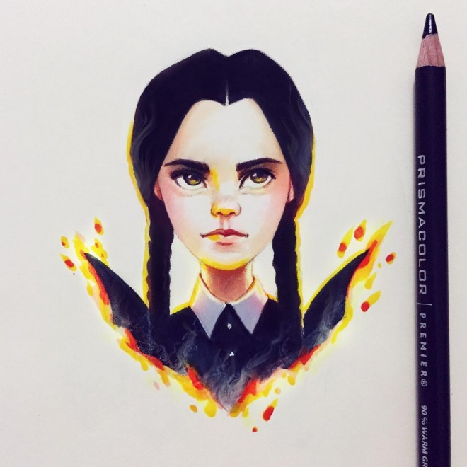 adams family color pencil drawing by lera kiryakova
