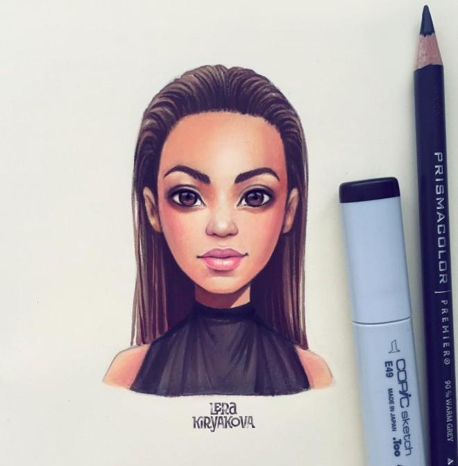 angelina jolie color pencil drawing by lera kiryakova