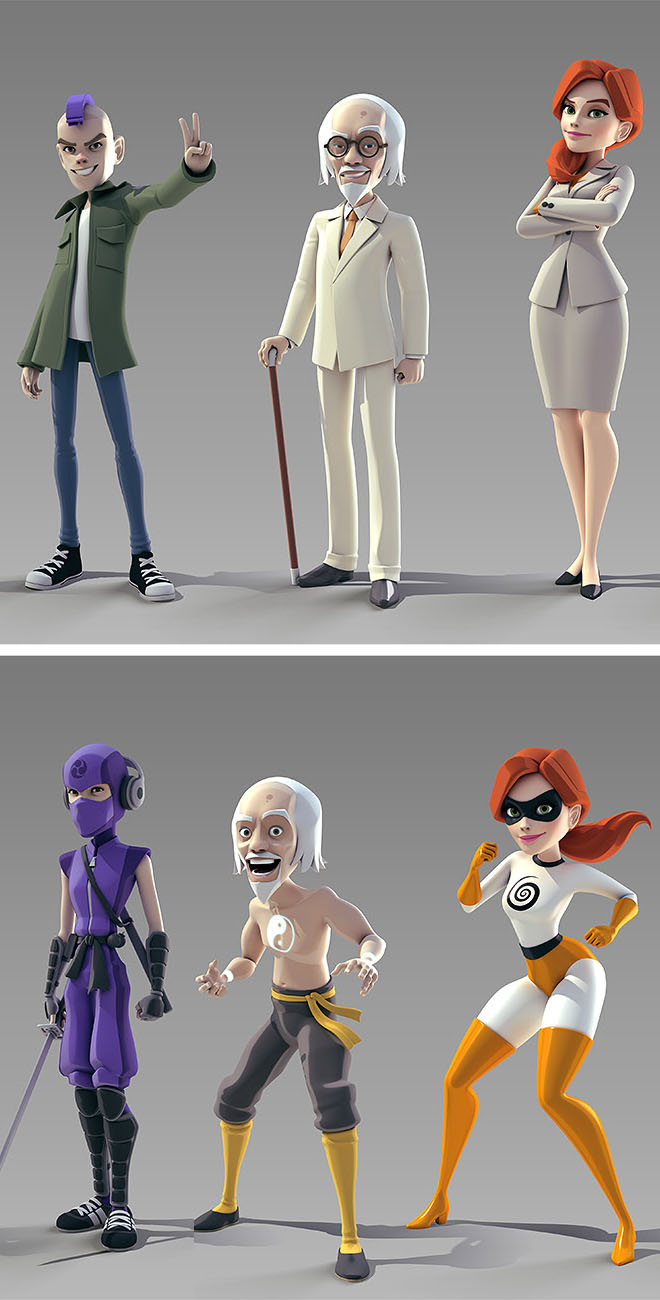 3d cartoon superheroes 3dxmax vray by andrew