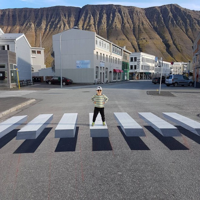 zebra crossing 3d street art iceland