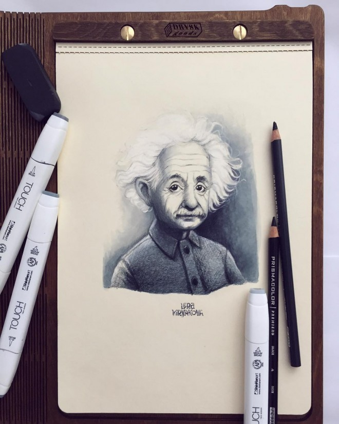 einstein color pencil drawing by lera kiryakova
