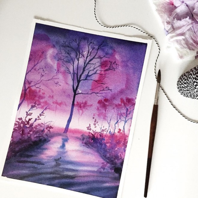 purple dream watercolor painting by jessica janik