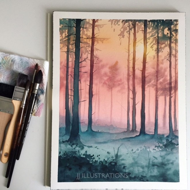 woods watercolor painting by jessica janik