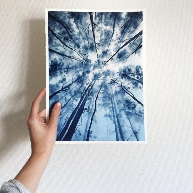sky high watercolor painting by jessica janik