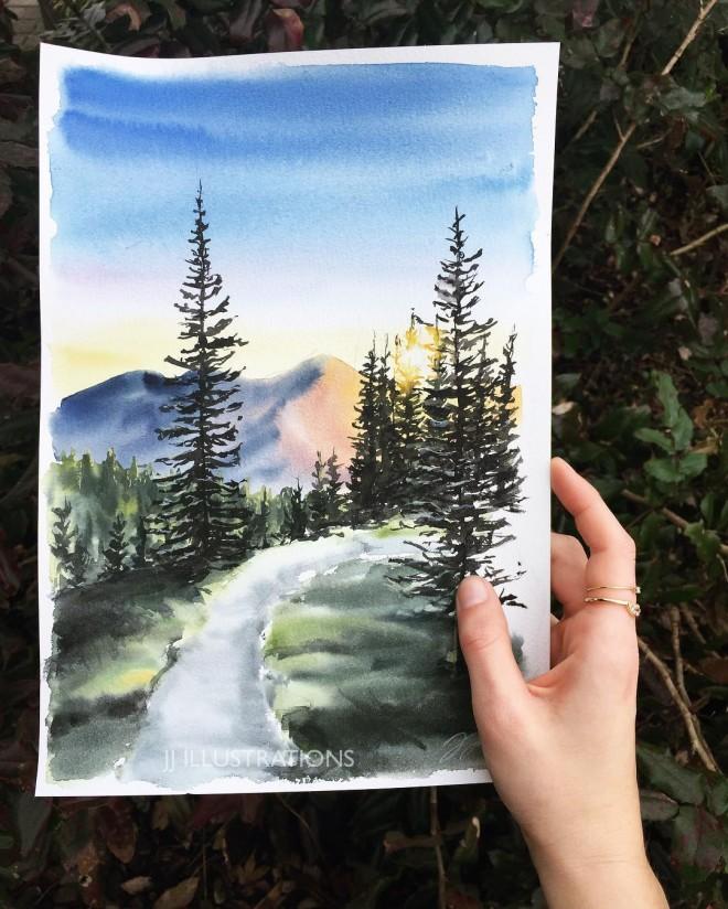 walk watercolor painting by jessica janik