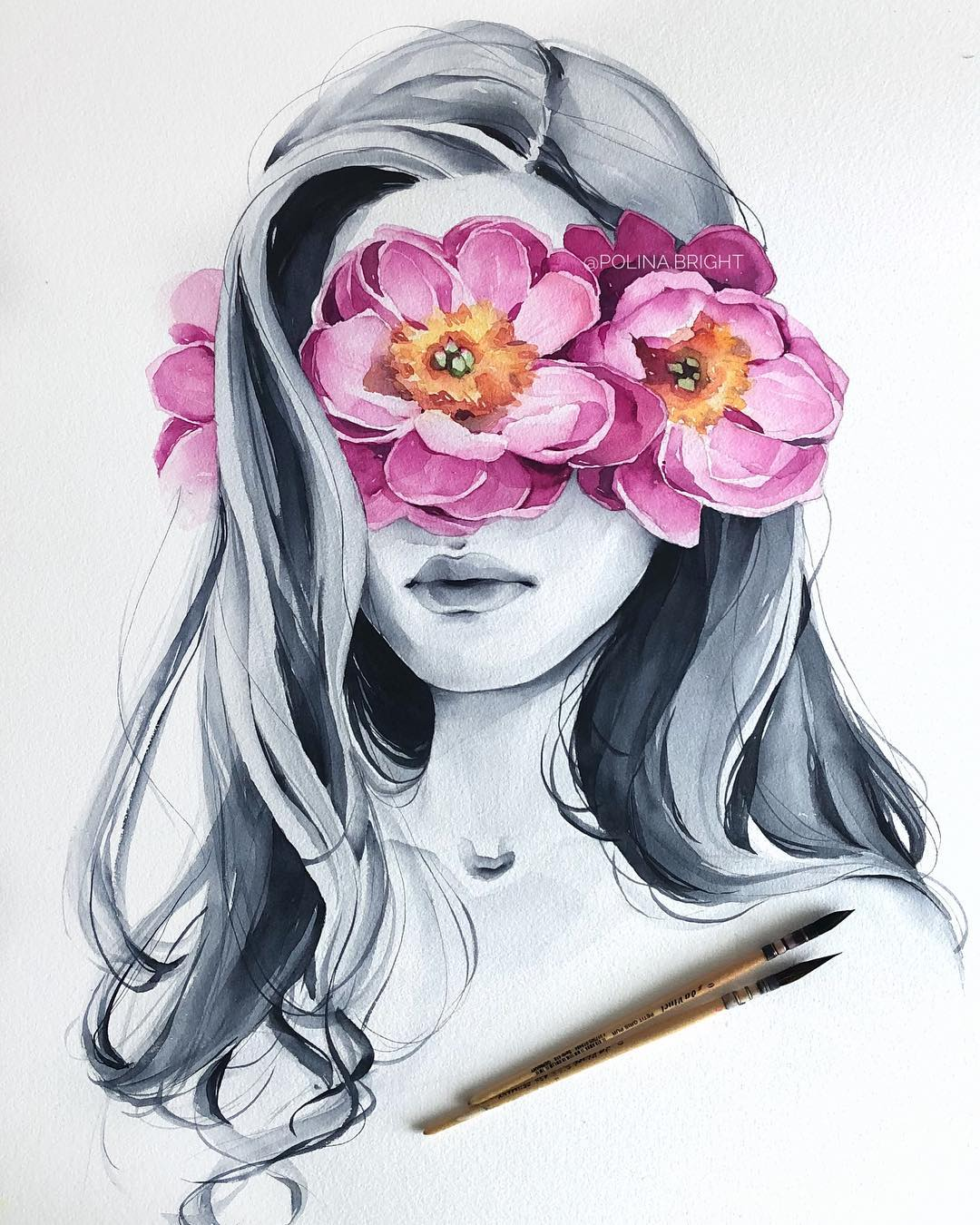 watercolor painting flower woman by polina bright