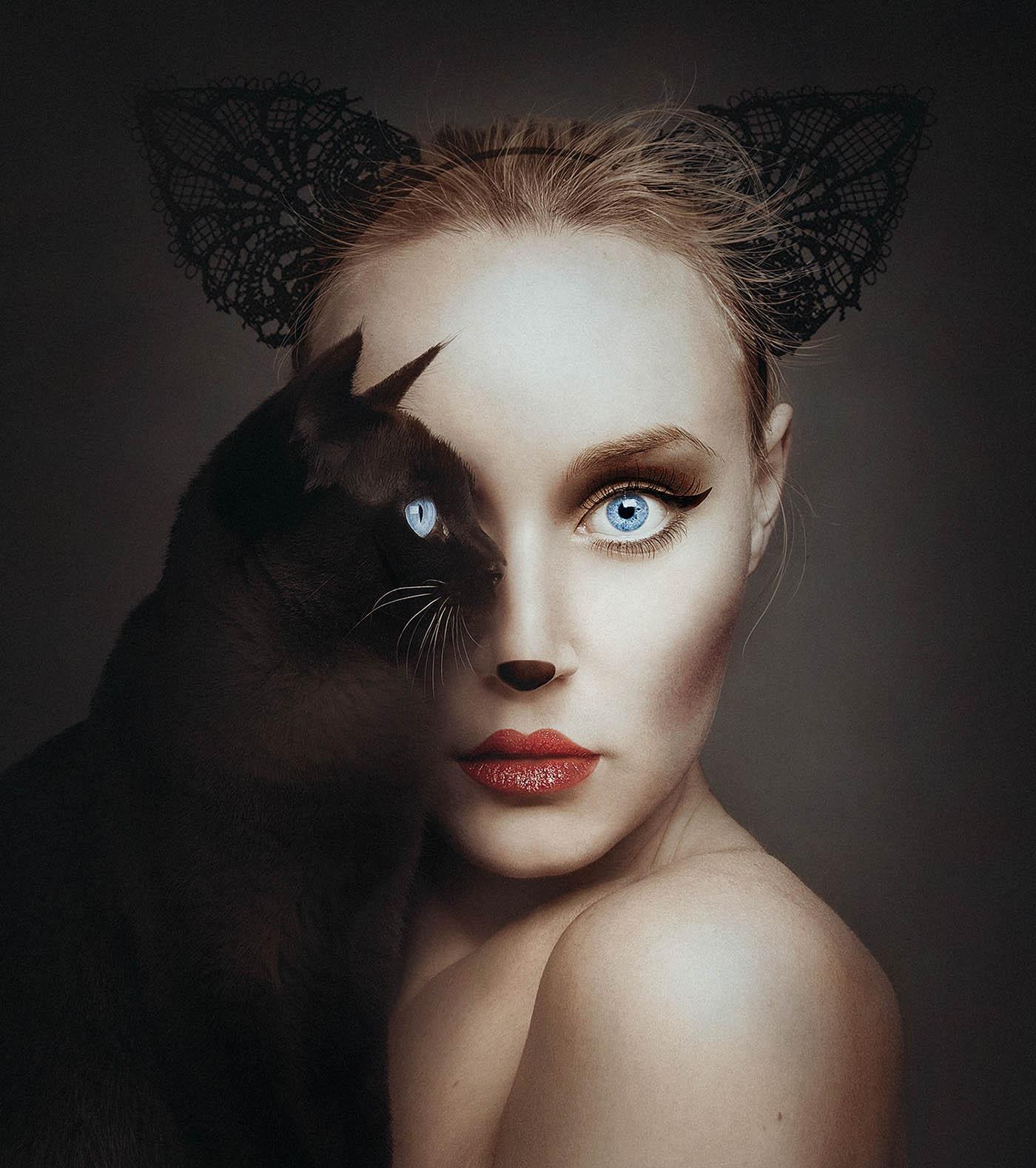 creative photography ideas cat woman by flora borsi