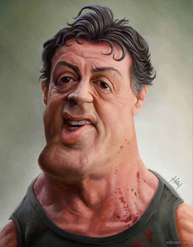 sylvester stallone celebrity caricature drawing