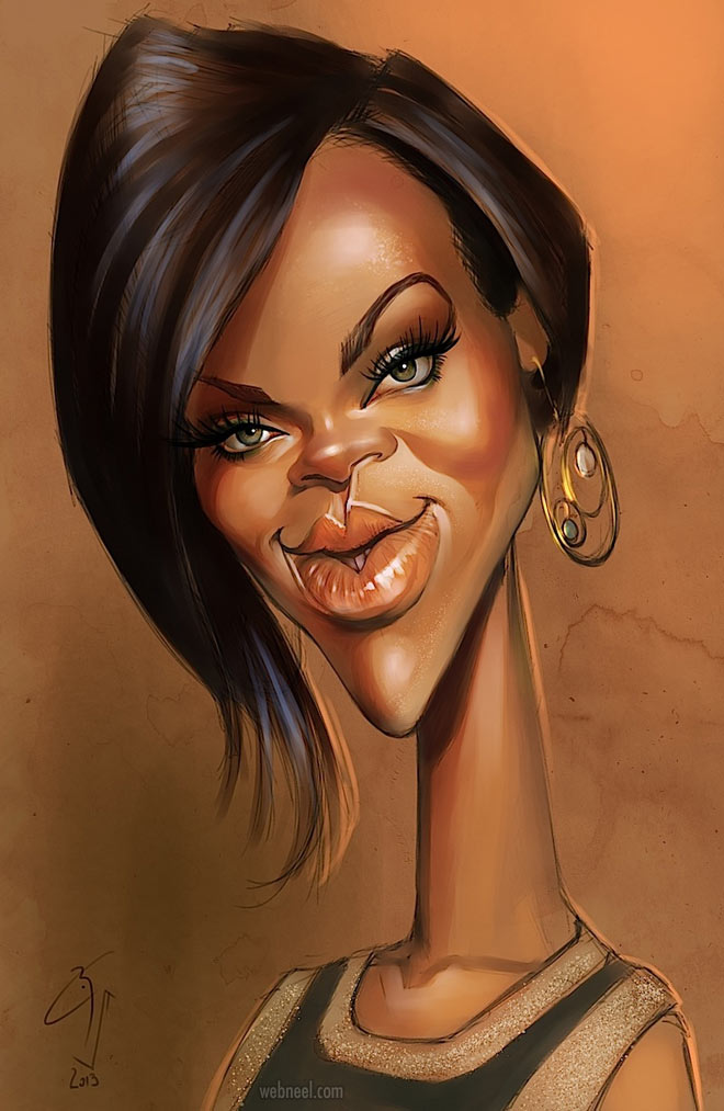 rihanna celebrity caricature drawing by bogdan covaciu