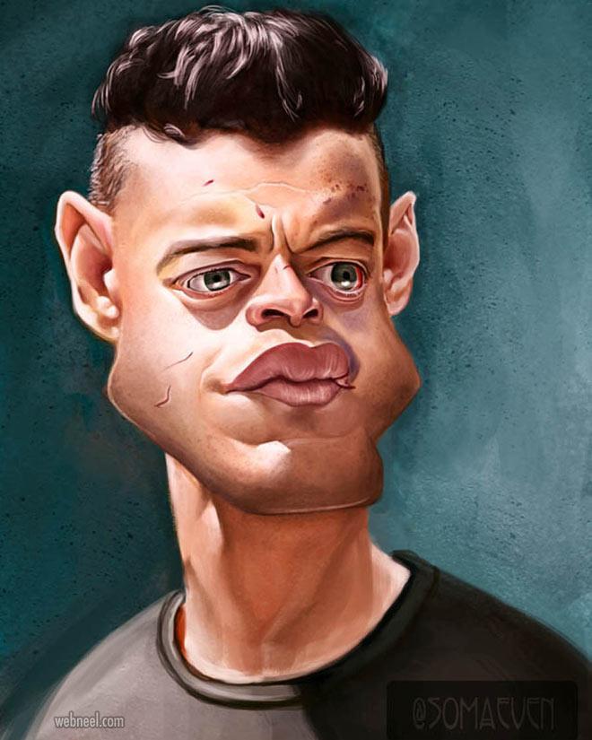 rami malek celebrity caricature drawing by maeve bokser