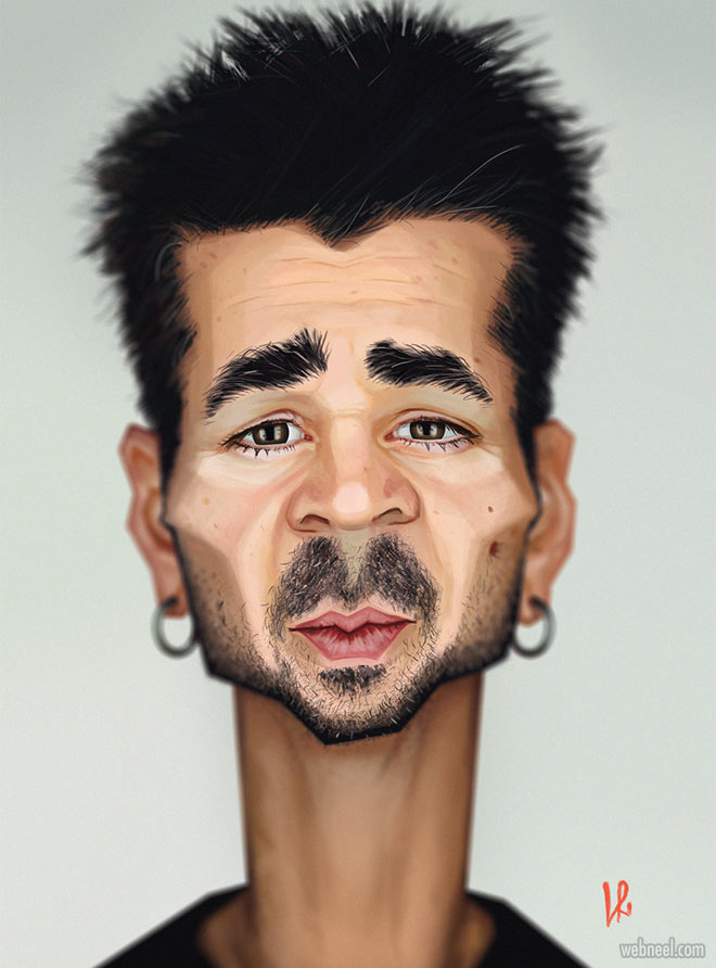 colin farell caricature drawing by luka ritonja