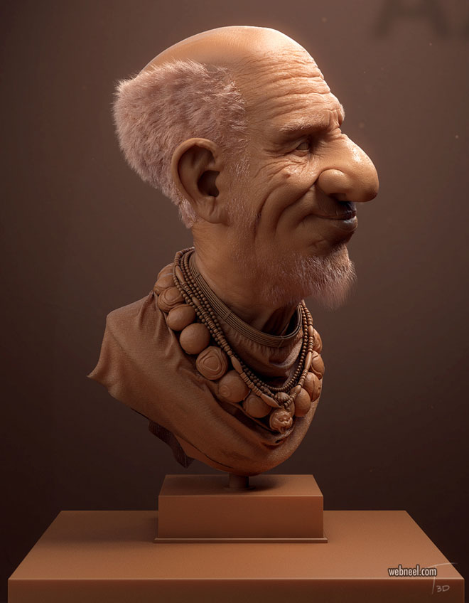 3d sculpture modelling by kevin beckers