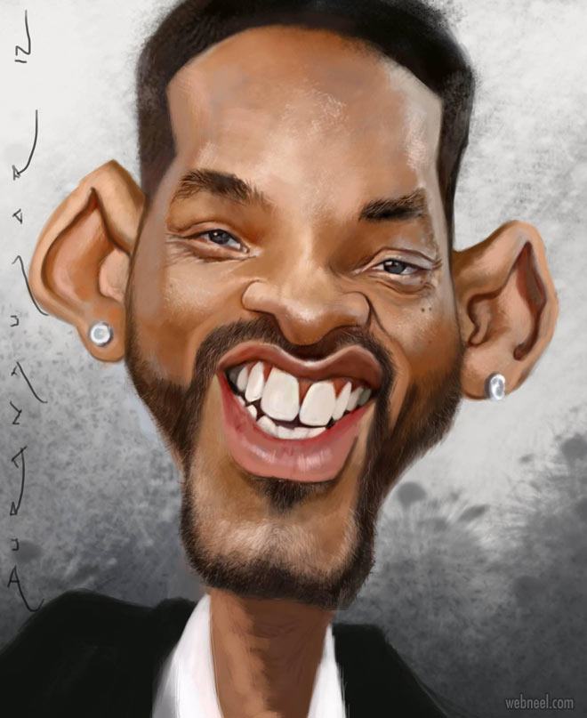 will smith celebrity caricature drawing by durandujar