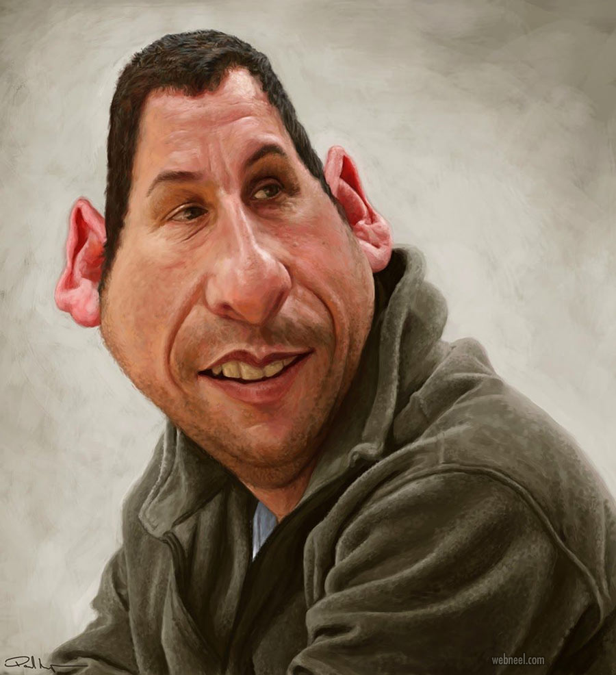 adam sandler celebrity caricature drawing by paul
